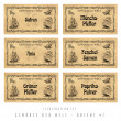 Stock Photo: Illustration set spice labels, Orient 1