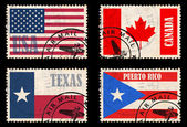 Set of stamps with flags from North America — Stock Photo