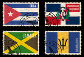 Set of stamps with flags from the Caribbean — 图库照片