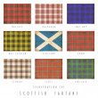Scottish tartans in grunge design - Stock Photo