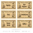 Stock Photo: Illustration set spice labels, Orient