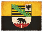Grunge flagga Sachsen-Anhalt (Tyskland) — Stockfoto