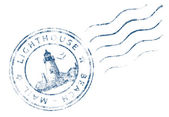 Stamp Lighthouse Beach Mail (Grunge design) — Stock Photo