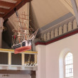 Sailing ship in a church on Bornholm — Stock Photo