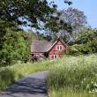 Idyllic red holiday cottage with flowering meadow — Stock Photo