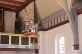 Sailing ship in a church on Bornholm — Stockfoto