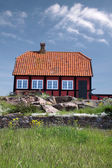 Red cottage house — Stock Photo