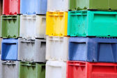 Colorful boxes for fish — Stock Photo