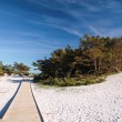 Stock Photo: Jetty and white sandy beach on Bornholm