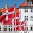 Waving Danish flag — Stock Photo