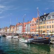 Old boats and houses in Nyhavn in Copenhagen — Stock Photo #28849613
