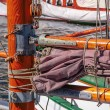 Masts of old sailing ship — Stock Photo