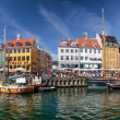 Panoramic of old boats and houses in Nyhavn in Copenhagen — Stock Photo