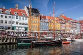 Old boats and houses in Nyhavn in Copenhagen — Stock Photo
