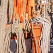 Stock Photo: Masts and ropes of large sailing ship