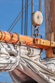 Masts and sails of a tall sailing ship — Stock Photo