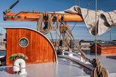 Masts and sails of a tall sailing ship — Stock Photo