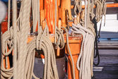 Masts and ropes of a large sailing ship — Stock Photo