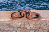 Large iron rings for mooring ships — Stock Photo
