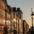 Facades in the evening light at Nyhavn in Copenhagen — Stock Photo