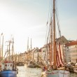 Old sailing boat in evening light in Copenhagen — Stock Photo #28876845