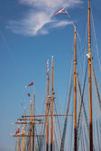 Masts of large sailing ships — Stock Photo