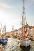Old sailing boat in evening light in Copenhagen — Stock Photo