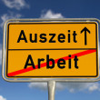 Stock Photo: German road sign work and time-out