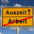 German road sign work and time-out — Stock Photo