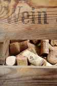 Wine rack with corks — Стоковое фото