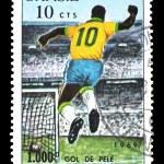Stamp Brazil 1000 goal of Pele — Stock Photo