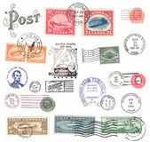 почтовые марки и этикетки от нас — Стоковое фото