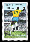 Stamp Brazil 1000 goal of Pele — Stock Photo