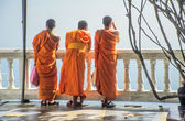 Buddhist Monks in orange — Stok fotoğraf