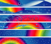 Six banners with rainbow and water — Stock Vector