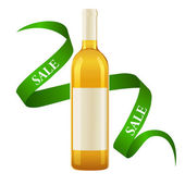 White wine bottle with label and ribbon — Stock Vector