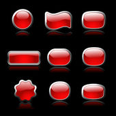 Red buttons set on black background — Stock Vector