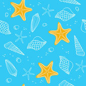 Seamless pattern with ocean shells — Stock Vector