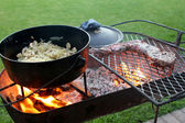 Braai with meat and a cast iron pot — Stock Photo
