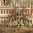 Old vintage bicycle against a wooden fence — Stock Photo