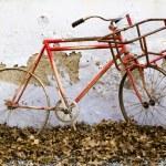 decorativo vieja bicicleta contra un viejo muro de peladura — Foto de Stock