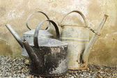 Old galvanised kettles and watering can — Stock Photo