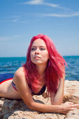 Beautiful Girl With red hairs on The Beach — Stock Photo