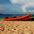 Two kayaks laying on  sand — Foto Stock