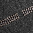 Gap between railroad tracks - Stock Photo