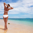 Tanned woman on the beach — Stock Photo #13604132