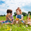 Two cute kids eating lunch on picnic — Stock Photo #13605163