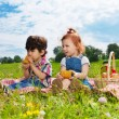 Two cute kids eating lunch on picnic — Stock Photo