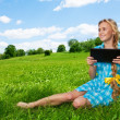 Happy student with tablet pc — Stock Photo