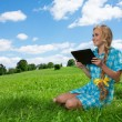 Student sitting on grass browsing — Stock Photo #13605178